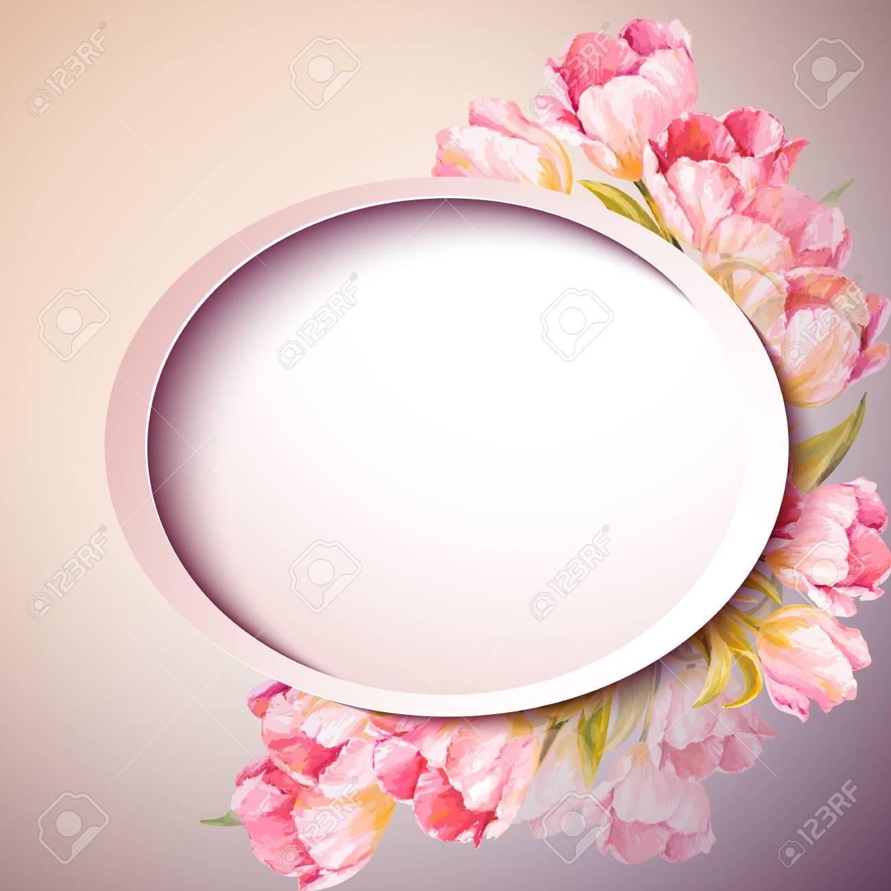 Fleurs De Printemps De Carte De Modele D Invitation Mariage