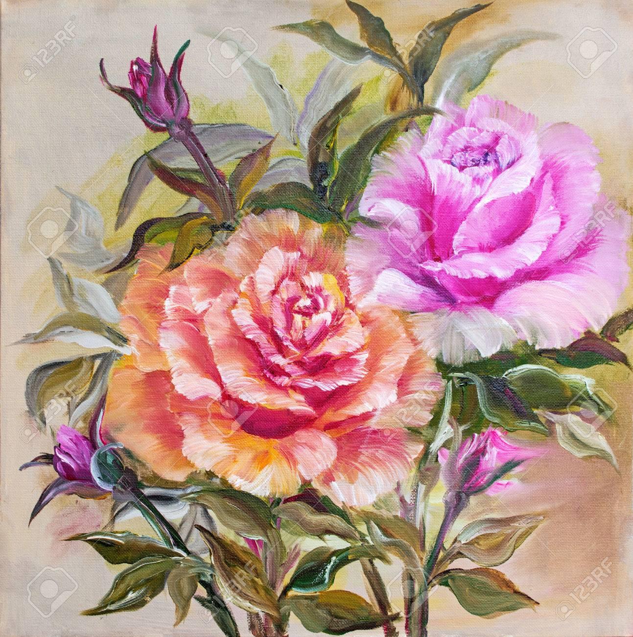 Vinage Rose Et Roses Jaunes Peinture A L Huile Sur Toile Banque D