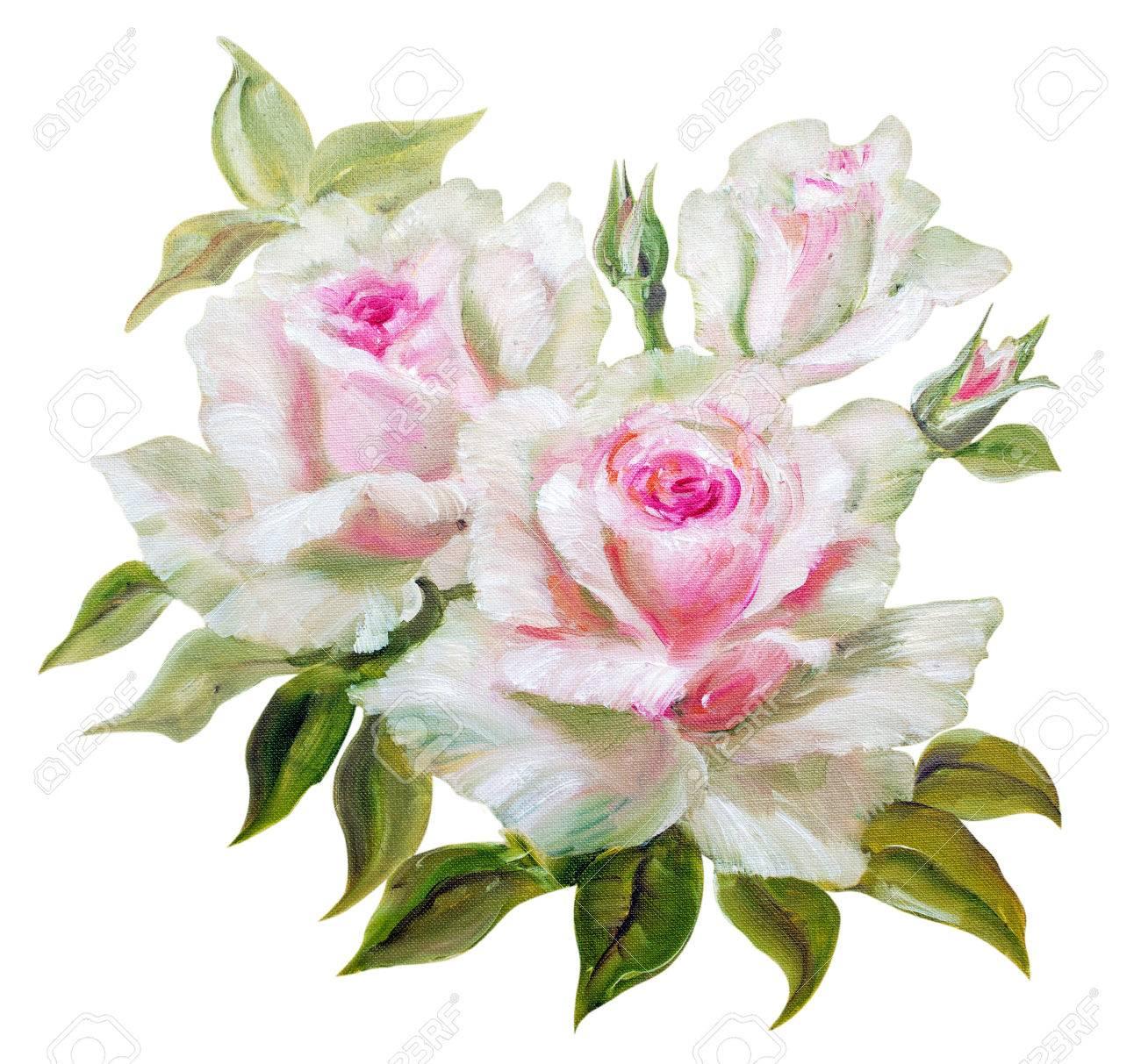 Vinage Blanc Roses Roses Peinture A L Huile Sur Toile Banque D