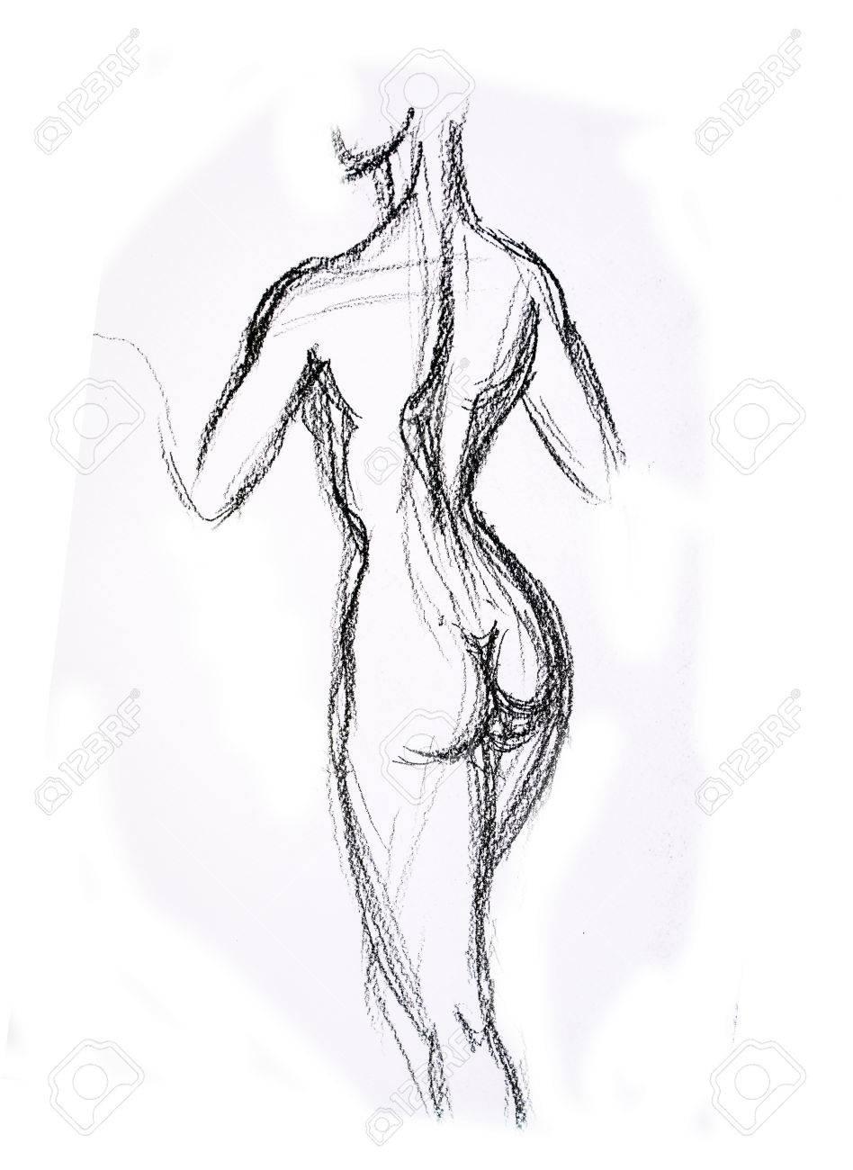 Woman torso sketch pencil drawing