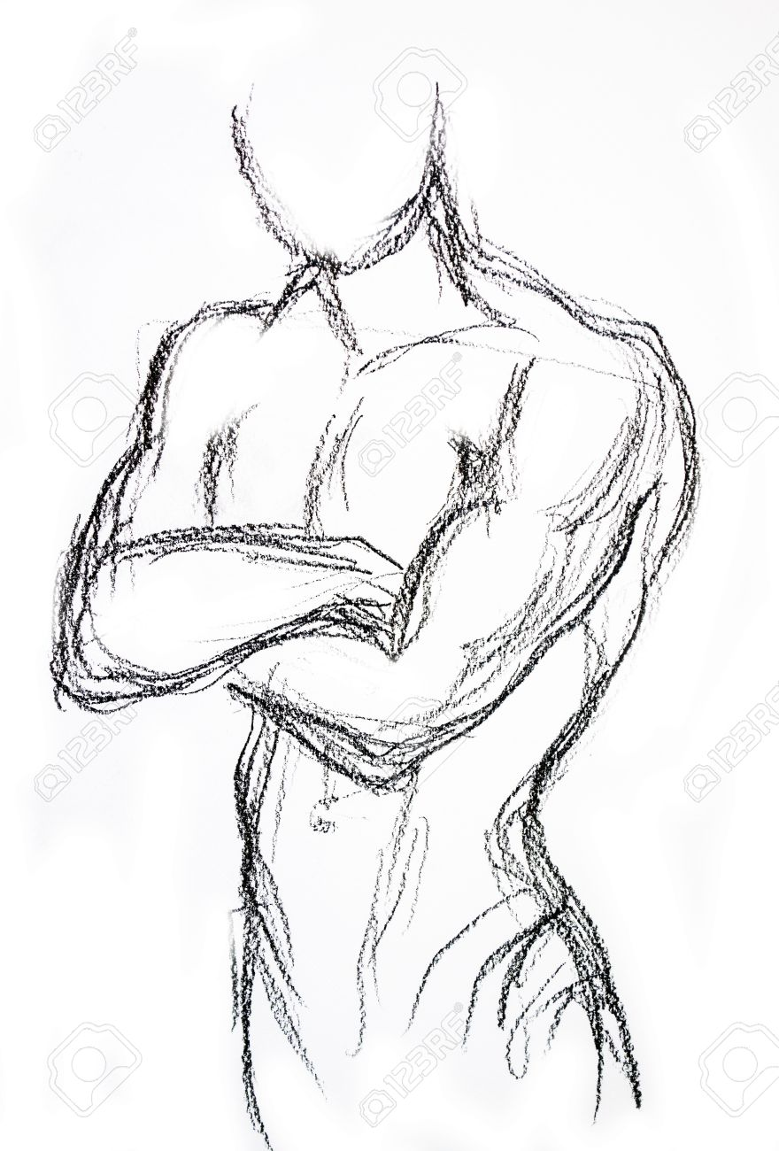 Man torso sketch pencil drawing stock photo 39687067