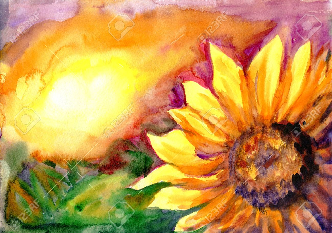 Watercolor Painting Sunflower Field In Time Sunset Stock Photo