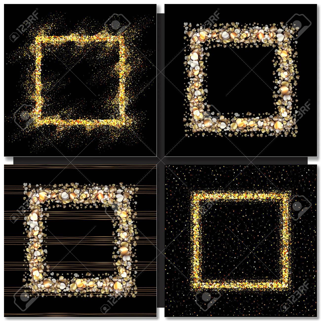 Set Of Golden Square Frames On Black Background. Gold Sparkles ...