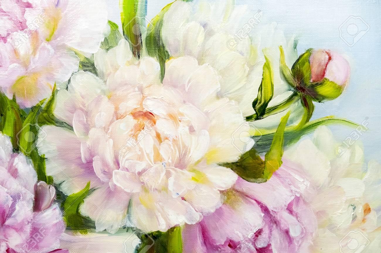 Rose Et Blanc Fond De Pivoine. Peinture à