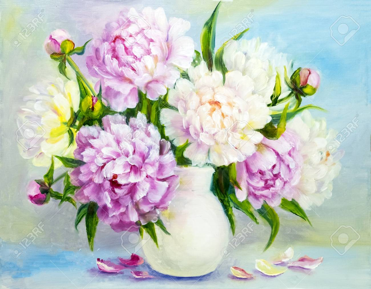 Peony pink flowers in a white vase. Oil painting illustration Stock Illustration - 71013877 & Peony Pink Flowers In A White Vase. Oil Painting Illustration Stock ...