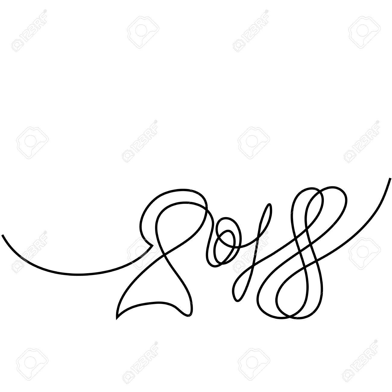 Happy New Year 2018 Continuous Line Design. Vector Illustration ...