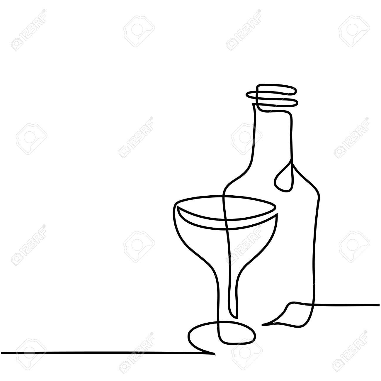 continuous line drawing wine bottle and glass contour black