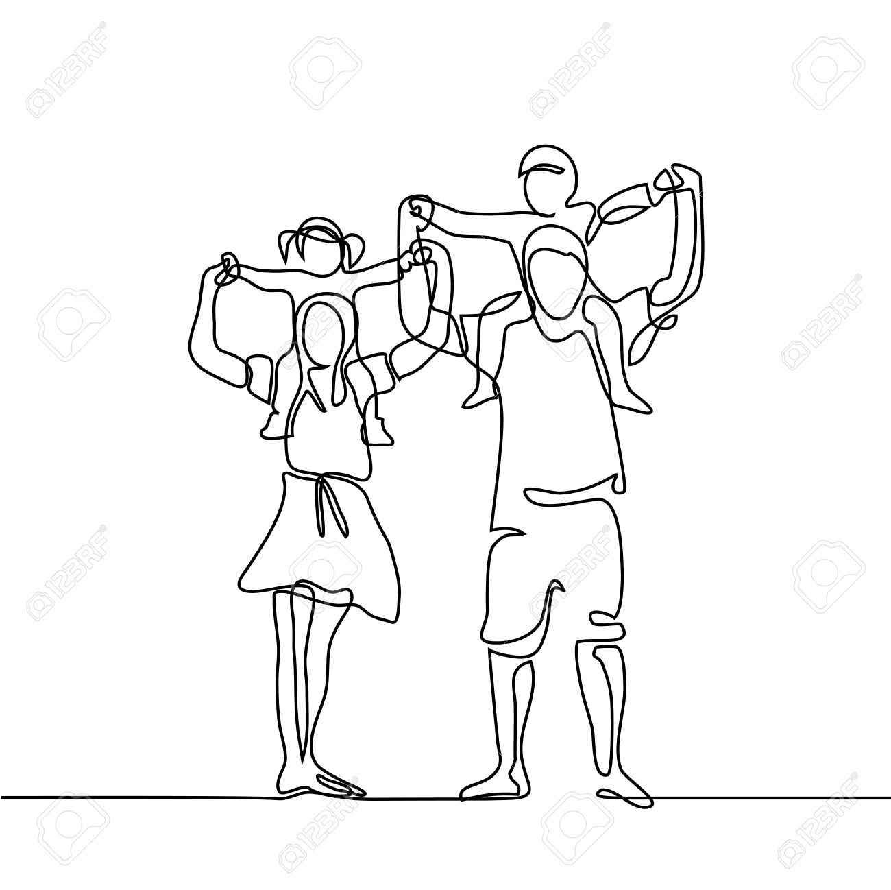 Continuous line drawing vector illustration. Happy family with children on shoulders - 80178995