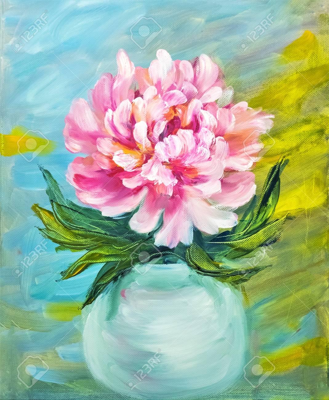 Pivoine Dans Un Vase, Peinture à L'huile