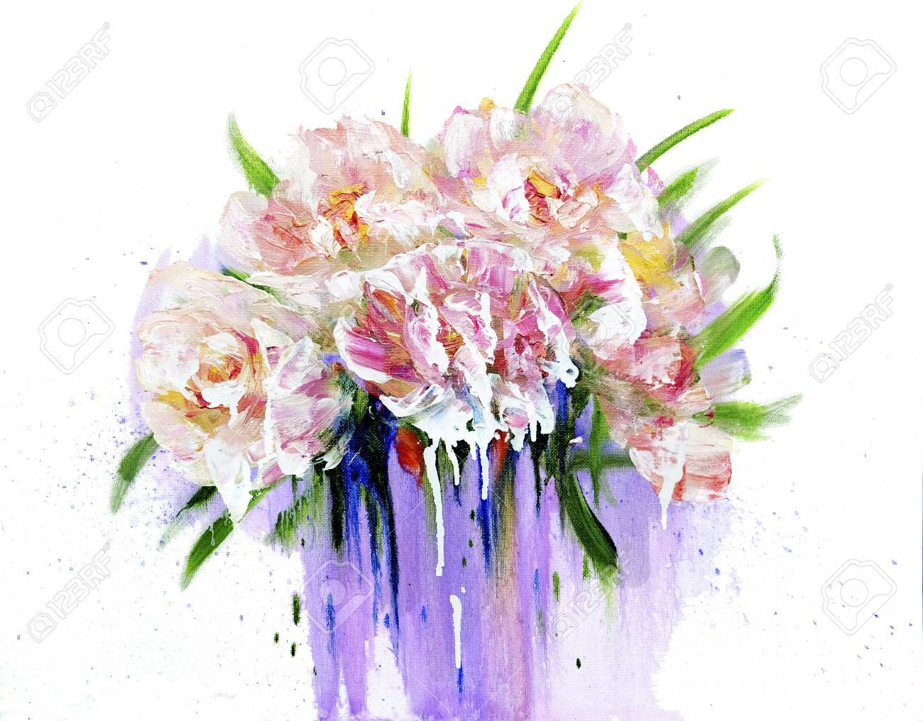Bouquet Of Pink Flowers With Paint Drips Oil Painting On Canvas