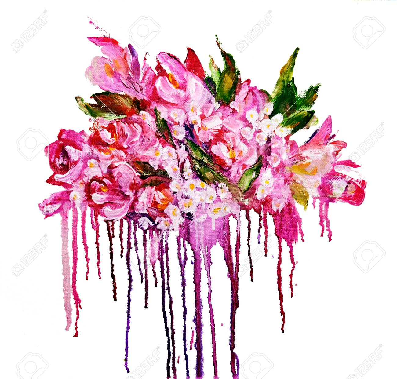 Bouquet of pink flowers with paint drips oil painting on canvas bouquet of pink flowers with paint drips oil painting on canvas isolated on white mightylinksfo