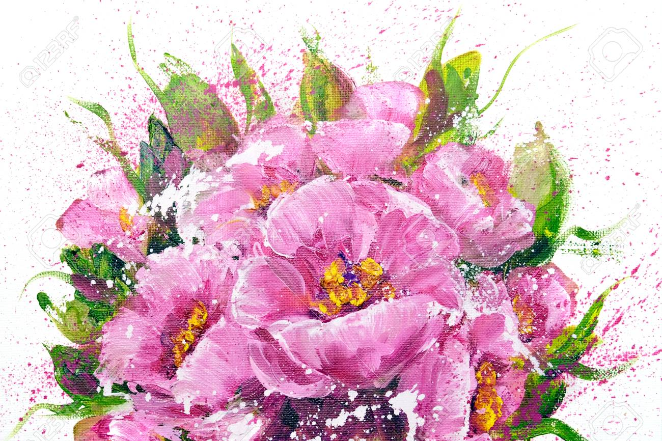 Bouquet Of Pink Flowers Oil Painting On Canvas Isolated On Stock