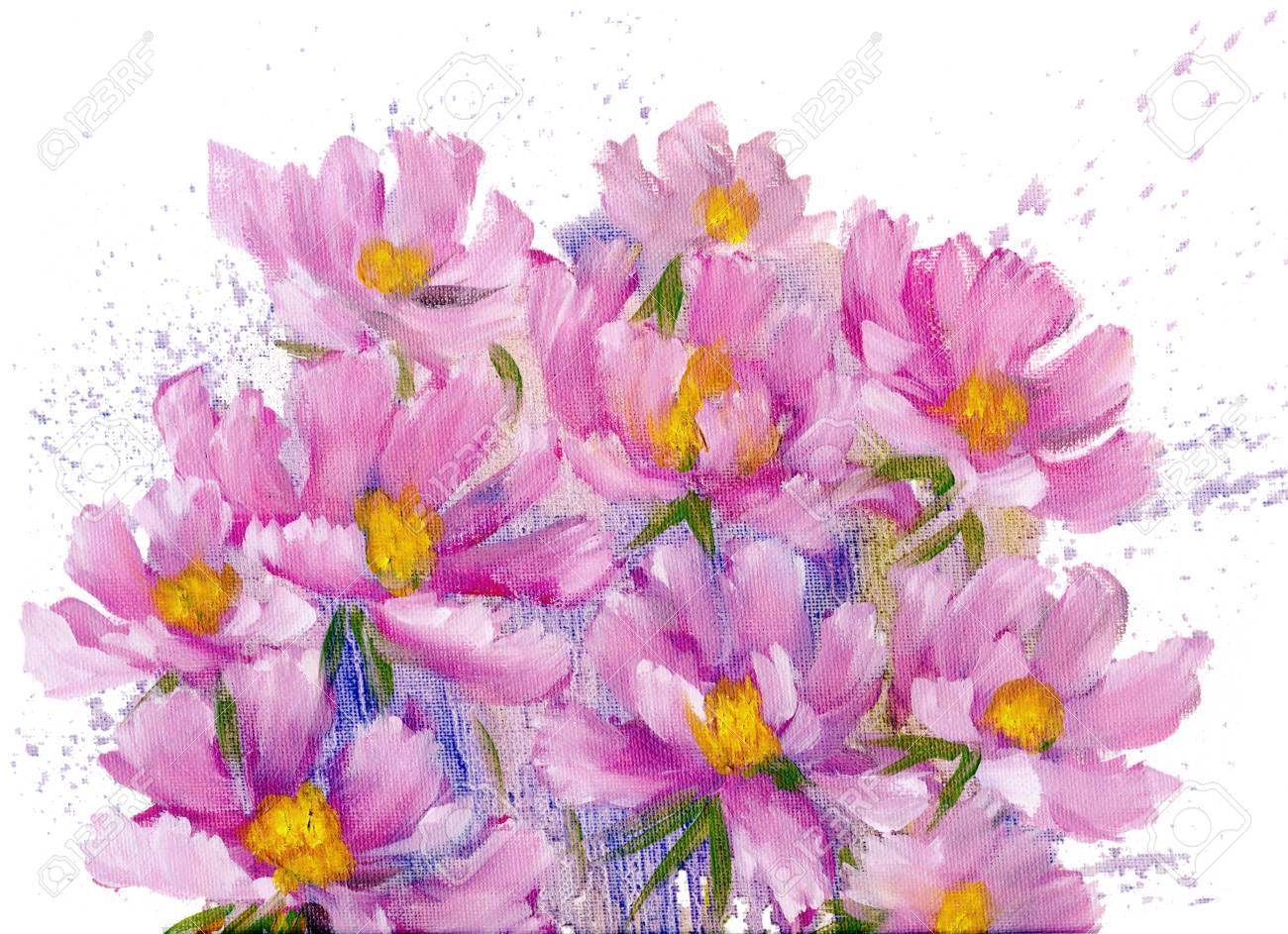 Bouquet De Fleurs De Cosmos Rose Peinture A L Huile Sur Toile