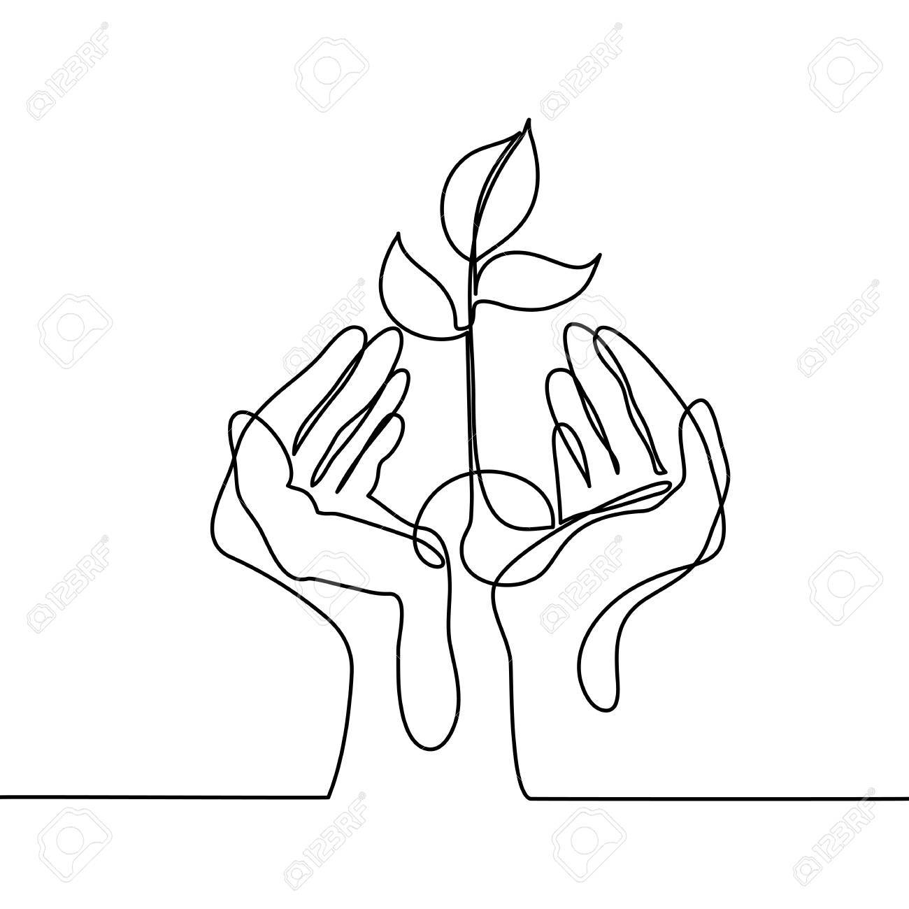 Continuous line drawing. Hands palms together with growth plant. Vector illustration - 82397577
