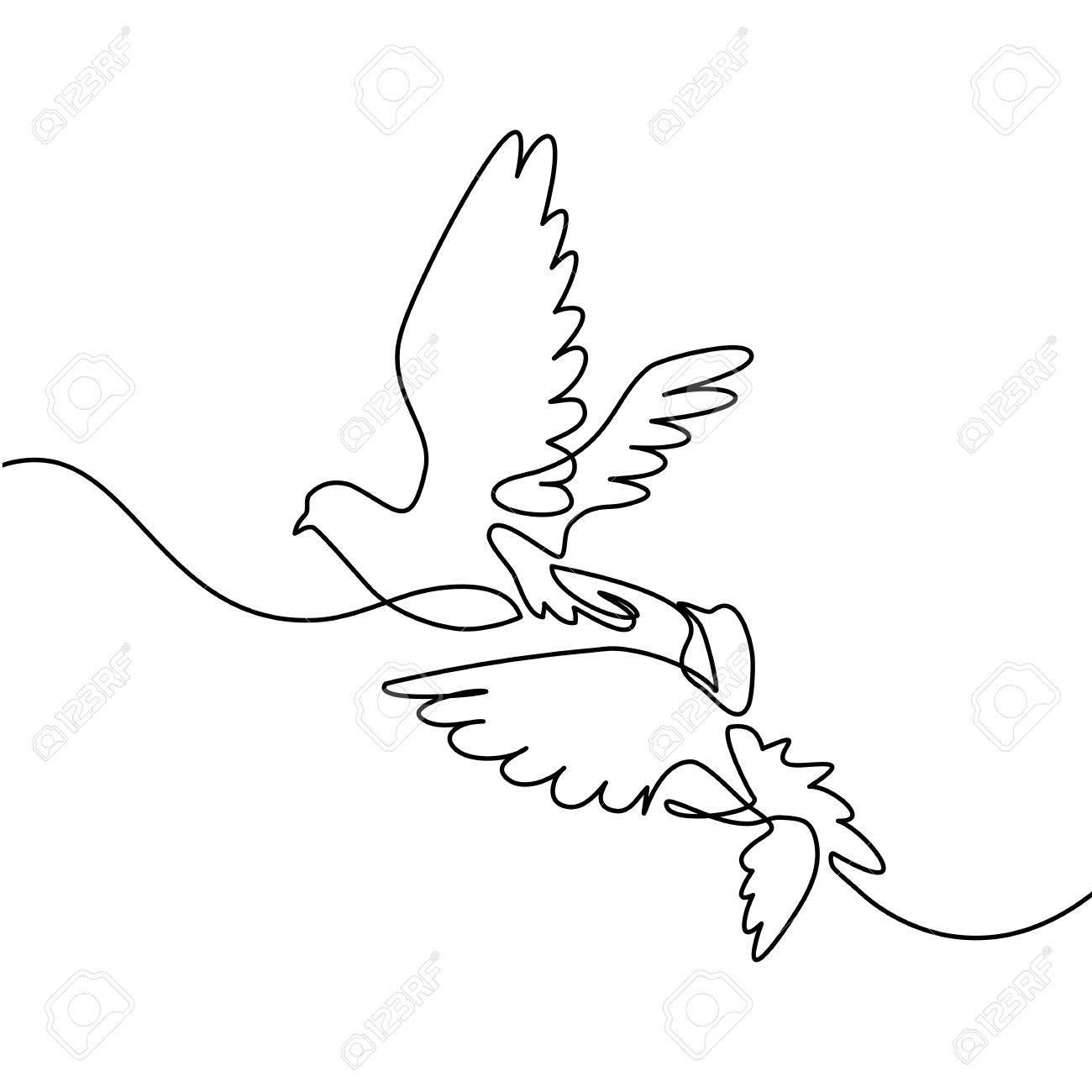 Dibujo De Una Línea Continua Volando Dos Palomas Ilustración En