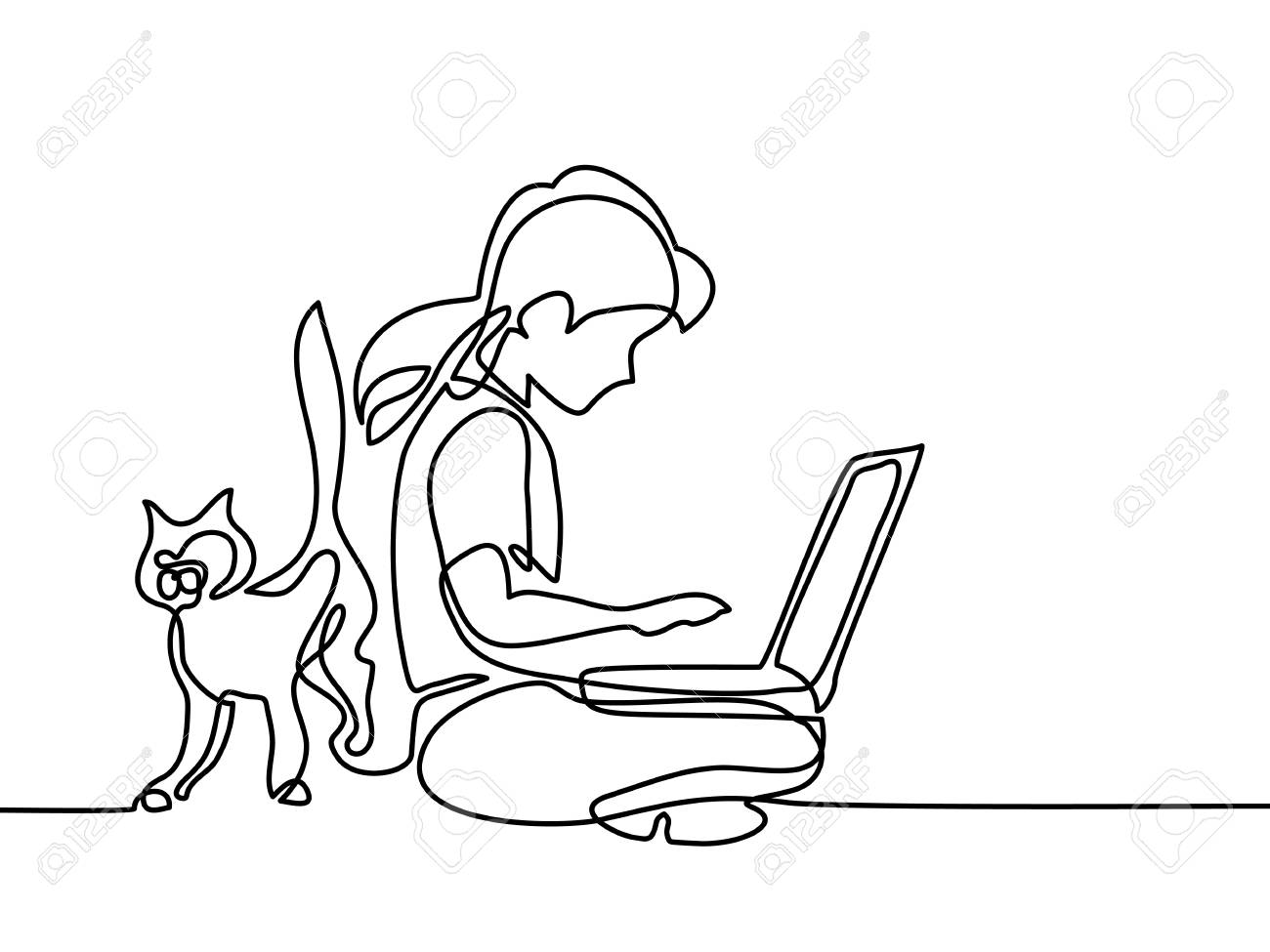 Girl studing with notebookand cat walking near. Back to school concept. Continuous line drawing. Vector illustration on white background - 82927229