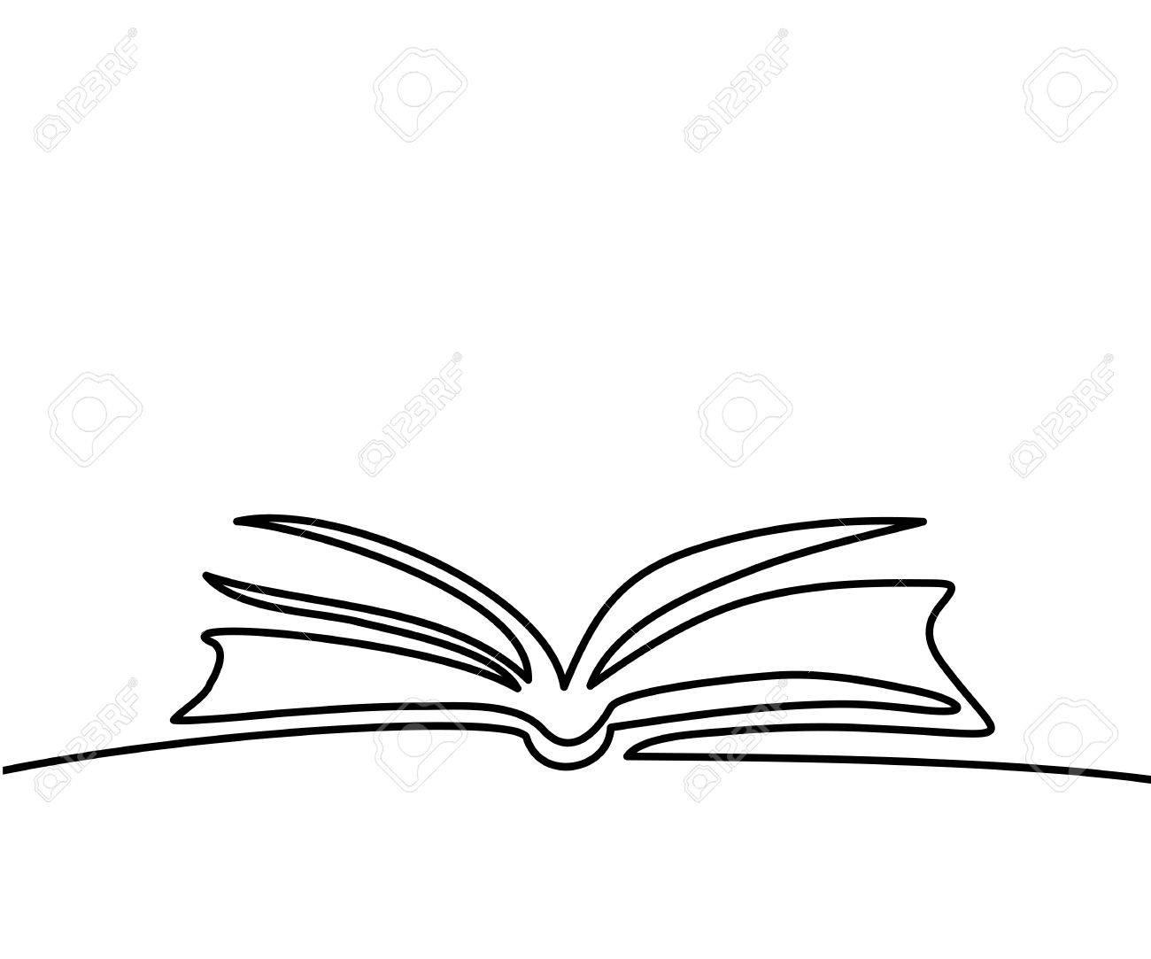 foto de archivo libro abierto con pginas aisladas en blanco dibujo lineal continuo ilustracin del vector