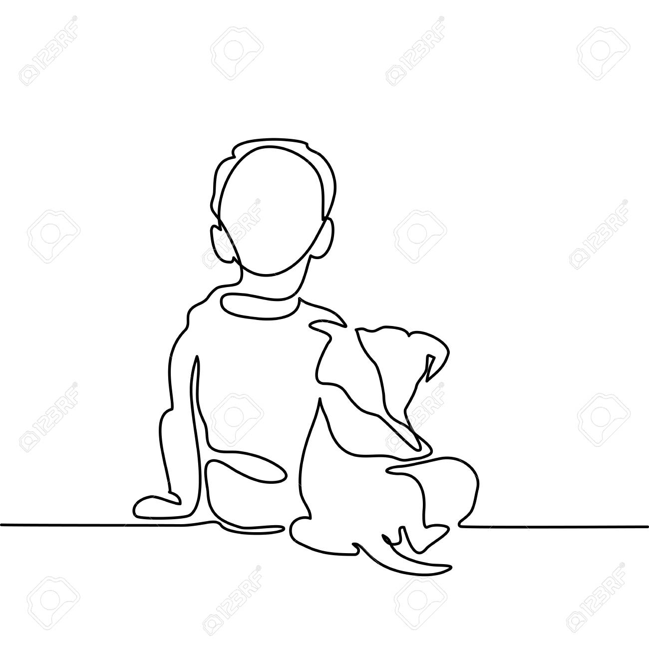 Boy hug dog. Continuous line drawing. Vector illustration - 83804638