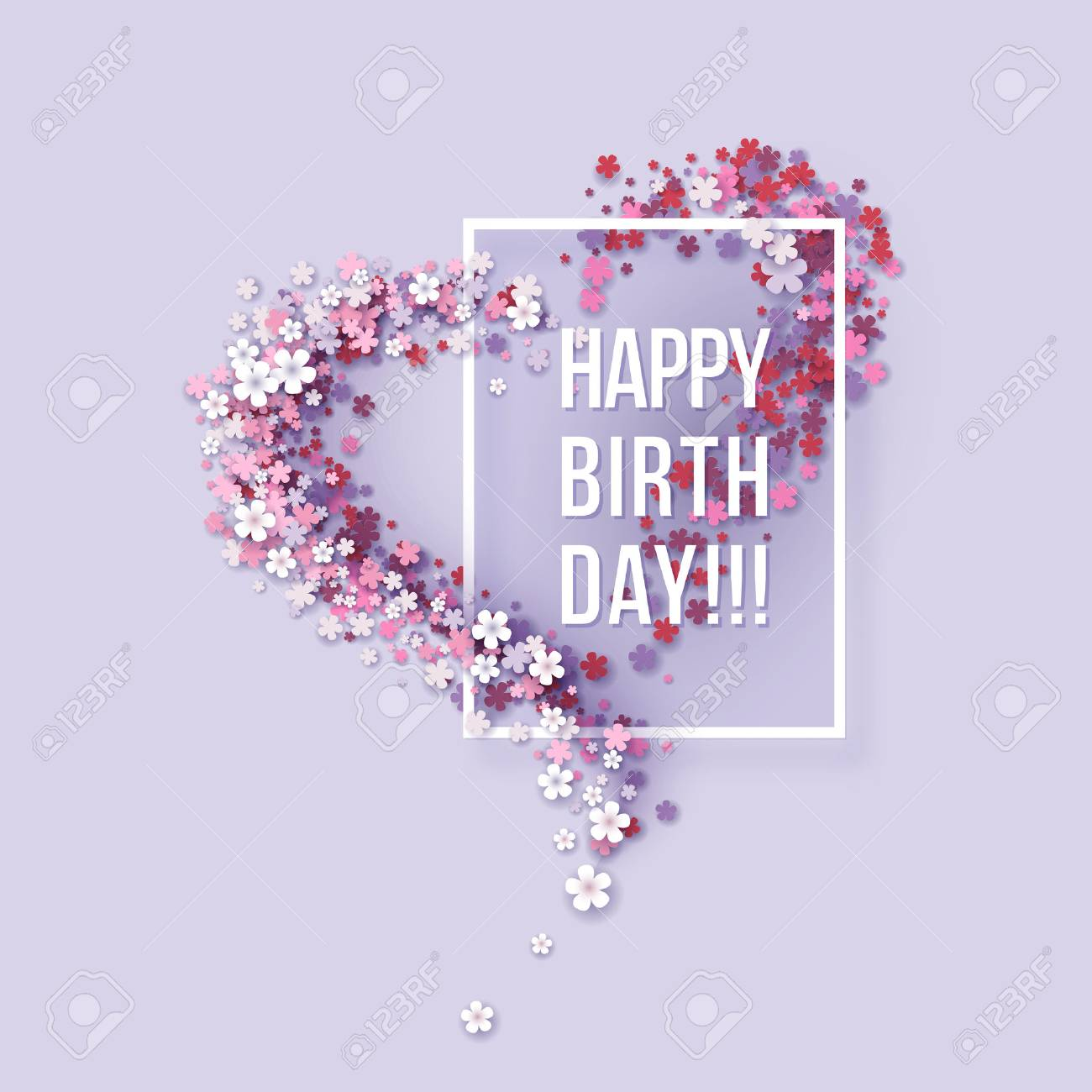 Colorful Paper cut Floral Greeting card. Happy birthday title texts poster design. Frame flowers heart shaped. Trendy Design Template. Vector illustration - 84446117