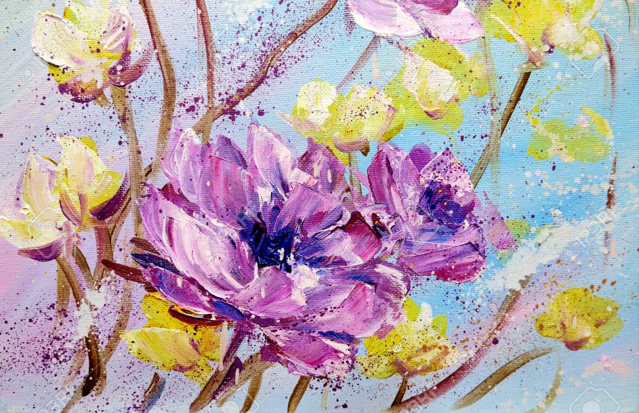 Hand Painted Modern Style Purple And Yellow Flowers Spring Flower