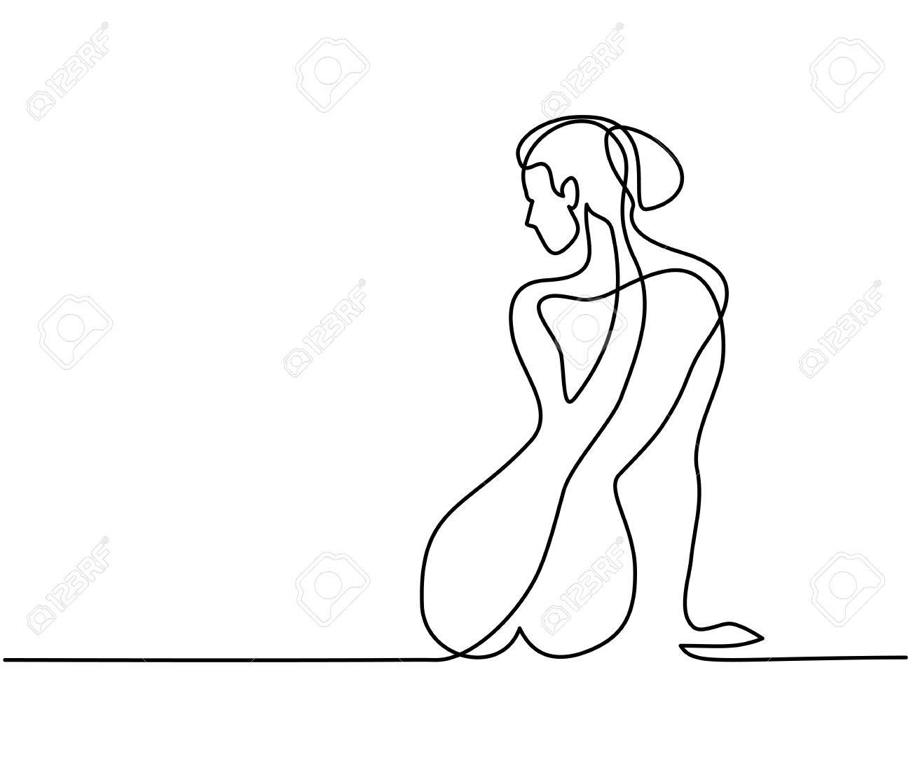 Continuous line drawing woman sitting back vector illustration stock vector 85052424