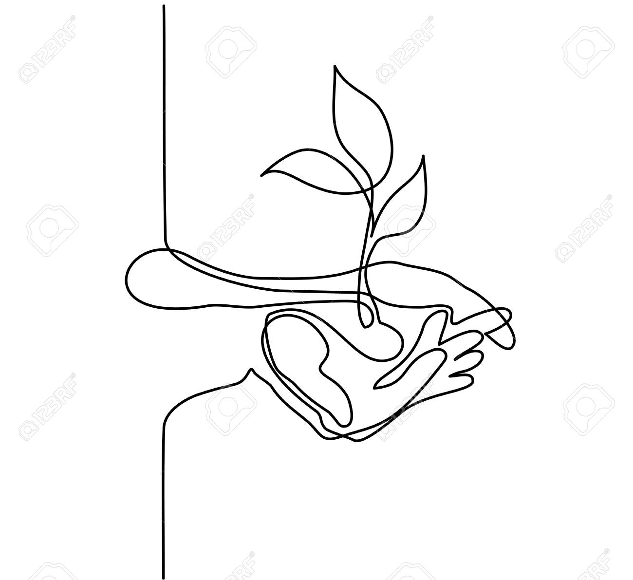 Continuous line drawing. Hands palms together with growth plant. Vector illustration. - 85388978