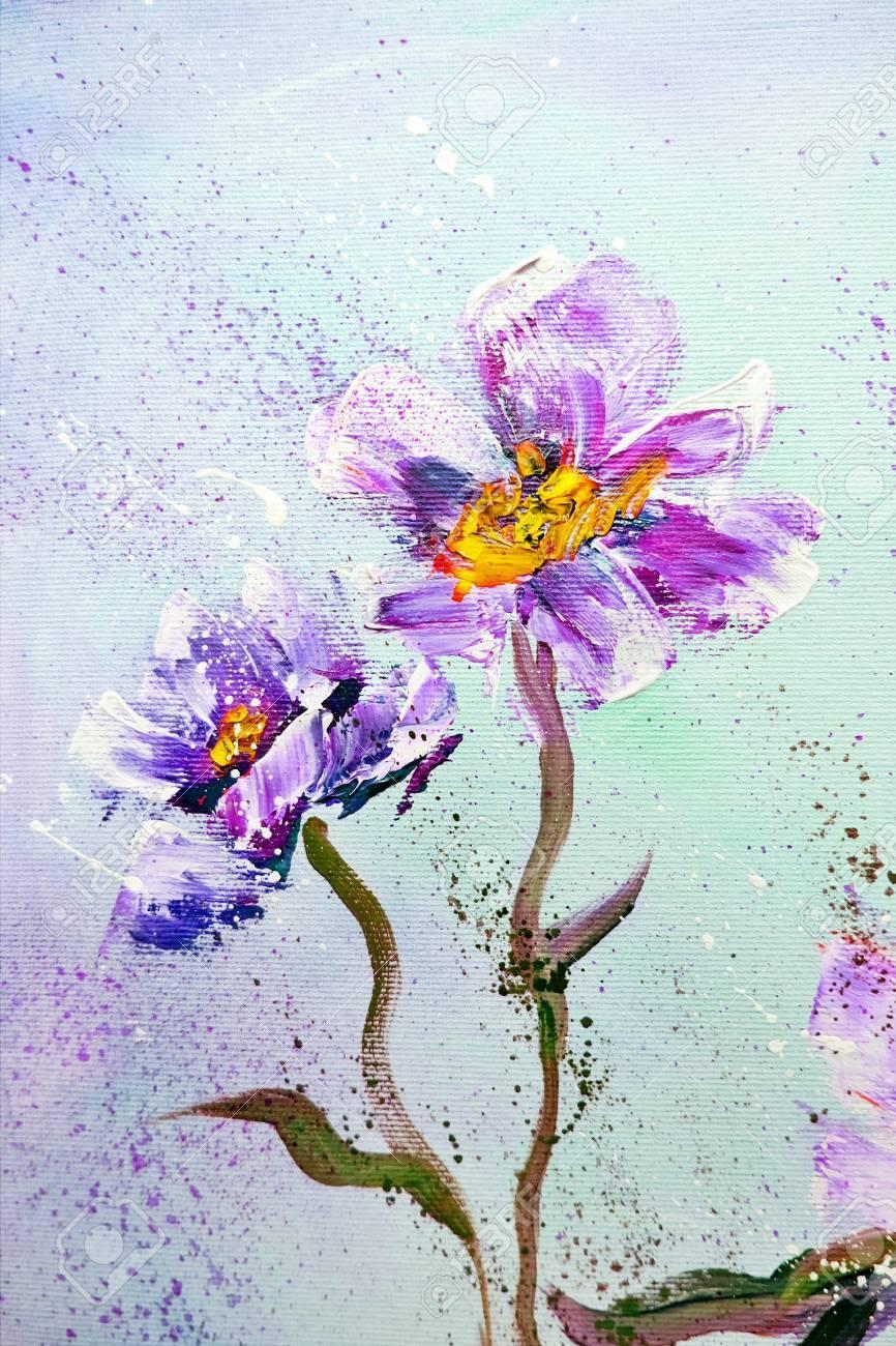 Hand Painted Modern Style Purple Peonies Flowers Spring Flower