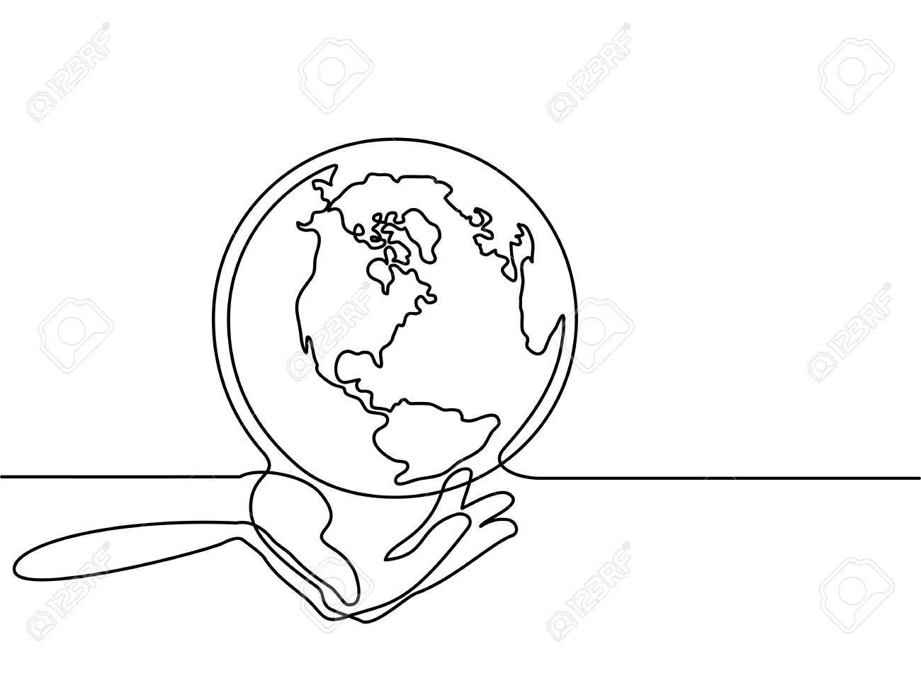 America Map Drawing.Continuous Line Drawing Globe Of The Earth In Human Hands Map
