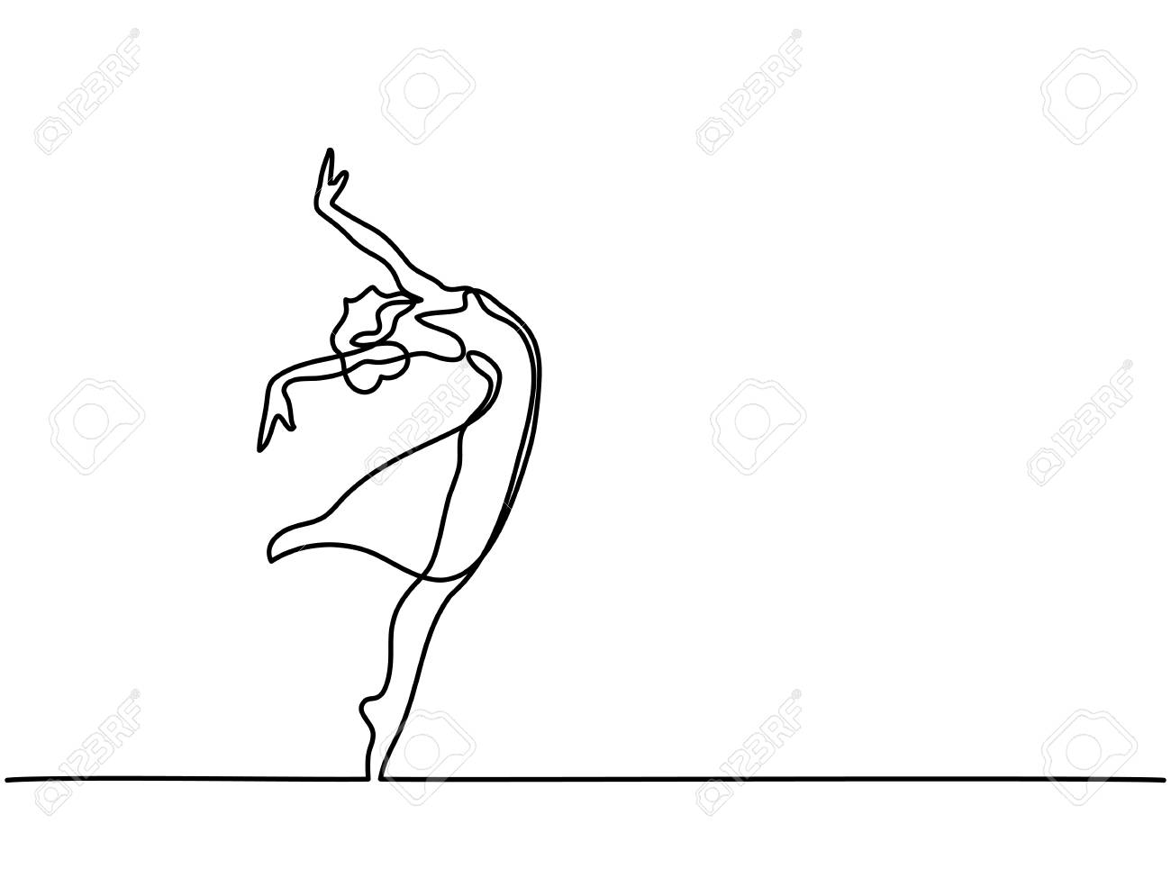 Dancer Outline Drawing Wiring Diagrams Colony Two Handle Kitchen Faucet Parts Diagram For Models 2475220 Continuous Line Art Ballet Ballerina Vector Rh 123rf Com Leap
