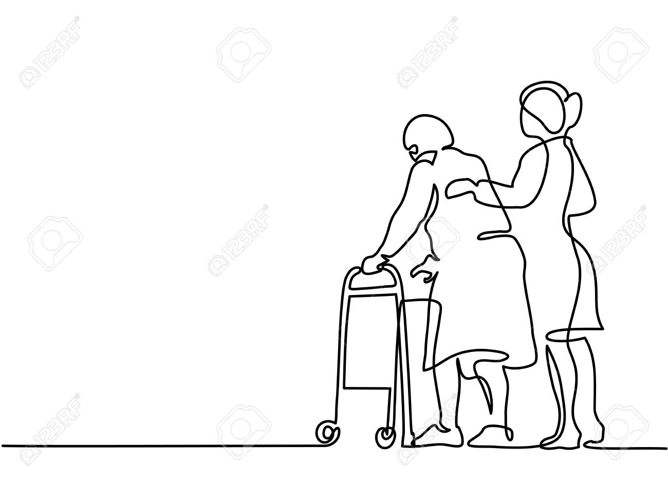 Continuous line drawing. Young woman help old woman using a walking frame. Vector illustration - 88860439