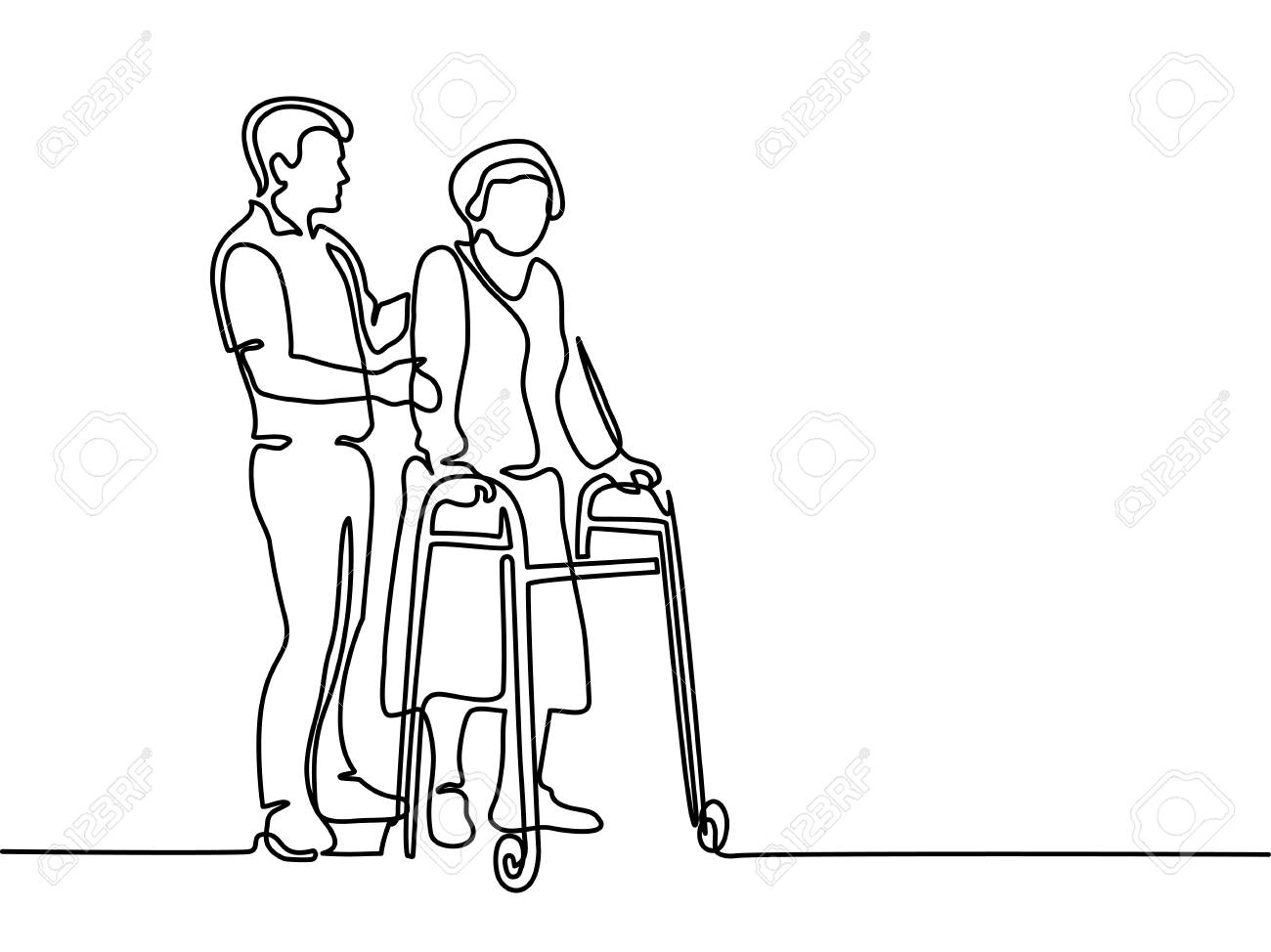 Continuous line drawing. Young man help old woman using a walking frame. Vector illustration - 88860437