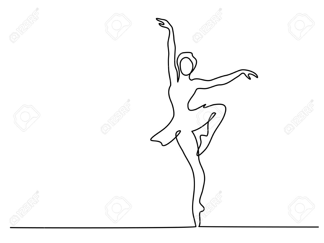 Continuous Line Art Drawing Ballet Dancer Ballerina Vector Royalty Free Cliparts Vectors And Stock Illustration Image 90473619