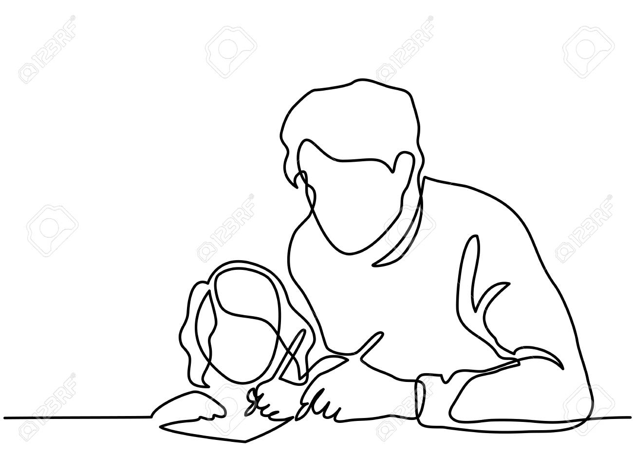 Continuous Line Art Drawing Father And Small Daughter Writing Letter To Santa Together Vector