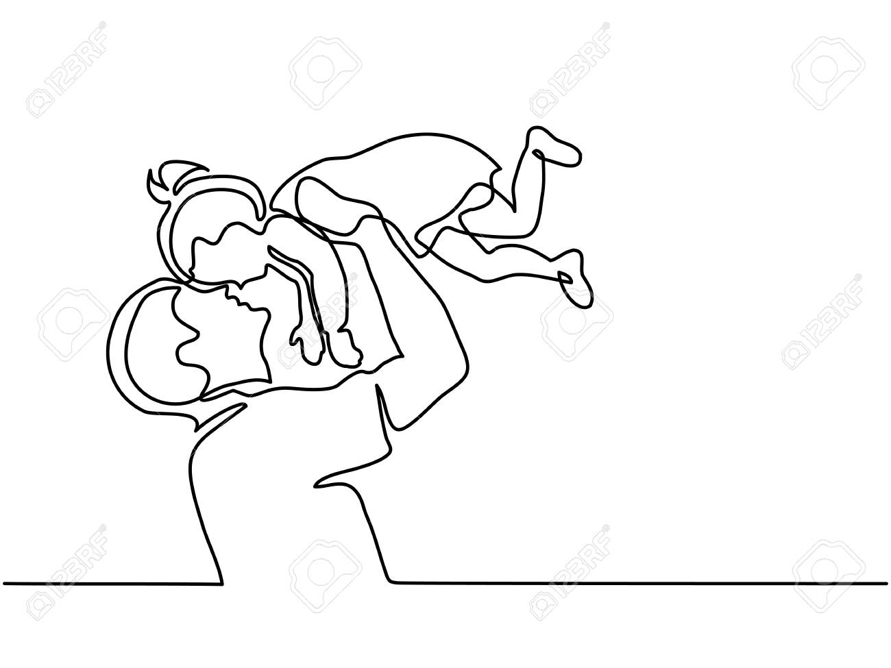 Continuous line drawing father holding happy daughter up in air. - 92143729