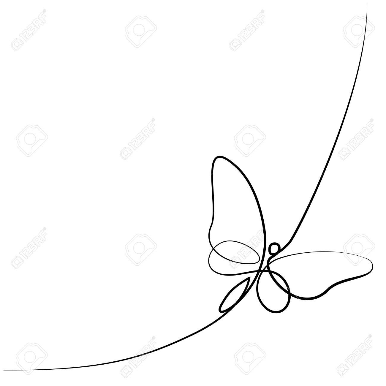 Continuous one line different width drawing. Flying butterfly logo. Black and white vector illustration. Concept for logo, card, banner, poster, flyer - 92070399