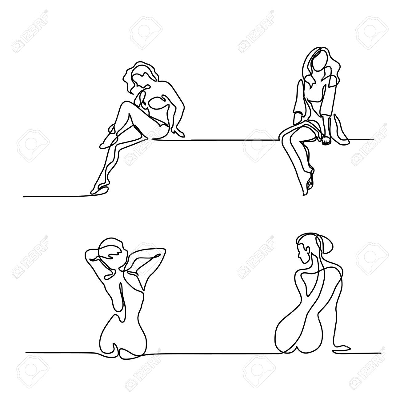 Set continuous line drawing. Woman rests after spa procedure. Vector Illustration - 93243895