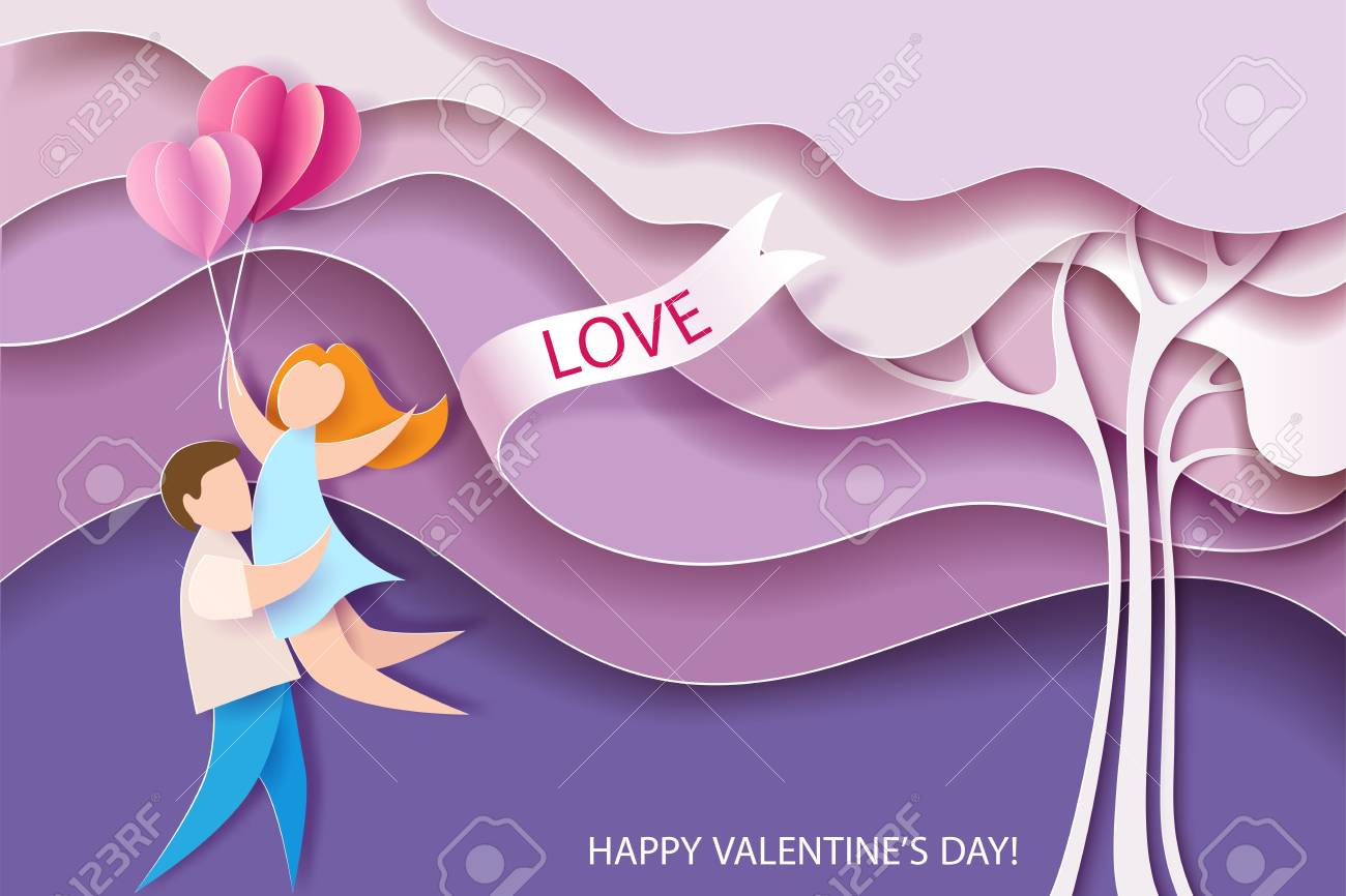 Valentines day card. Abstract background with couple, hearts balloons and pink tree. Vector illustration. Paper cut and craft style. - 93448400
