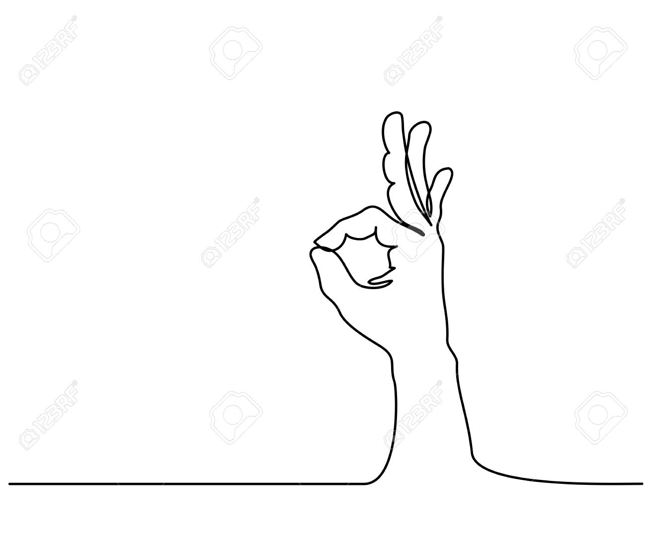 Continuous line drawing. Hand in ok sign on a white isolated background. Vector illustration. - 93778576