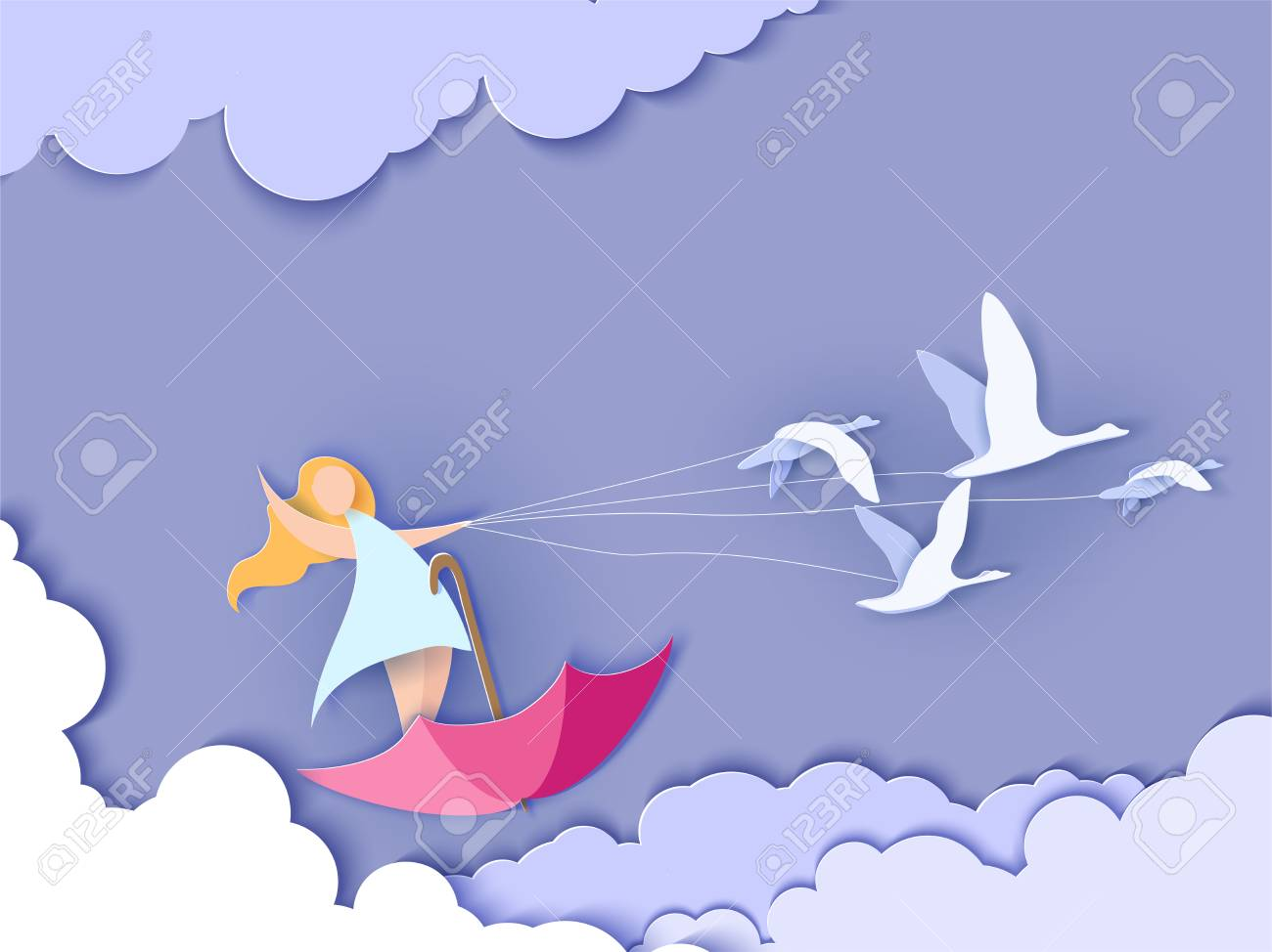 Valentines day card. Abstract background with happy girl flying on umbrella with swans and blue sky. Vector illustration. Paper cut and craft style. - 94153426