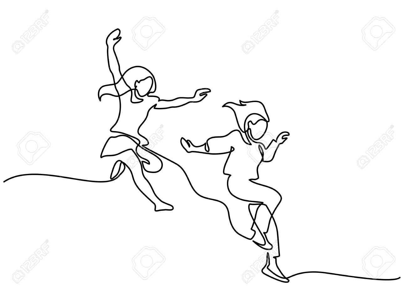 Happy jumping two girls. Continuous line drawing. Vector illustration on white background - 94478761