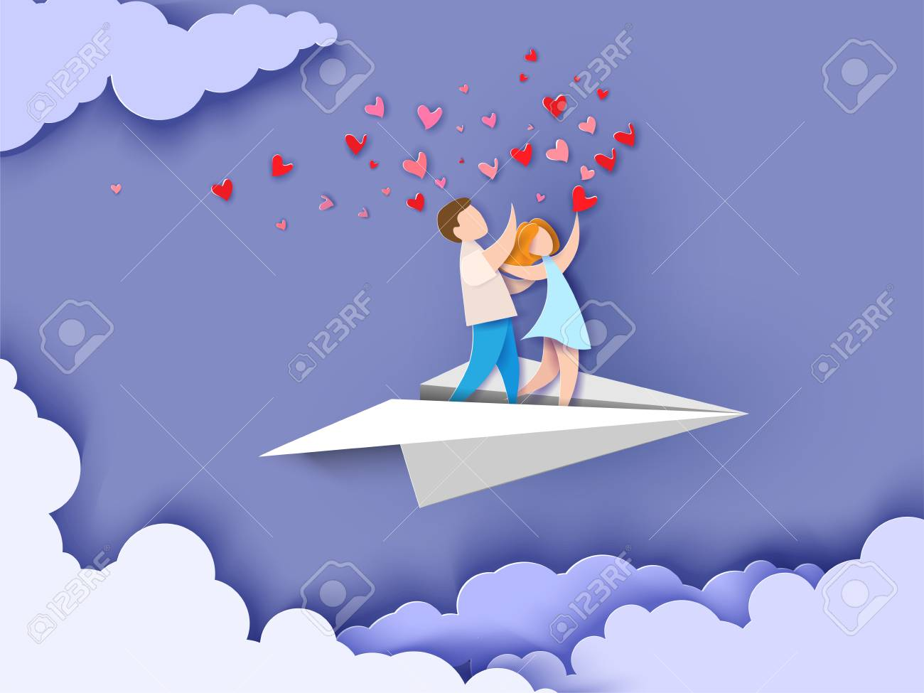 Valentines day card. Abstract background with couple in love flying on paper airplane, hearts and blue sky. Vector illustration. Paper cut and craft style. - 94781431