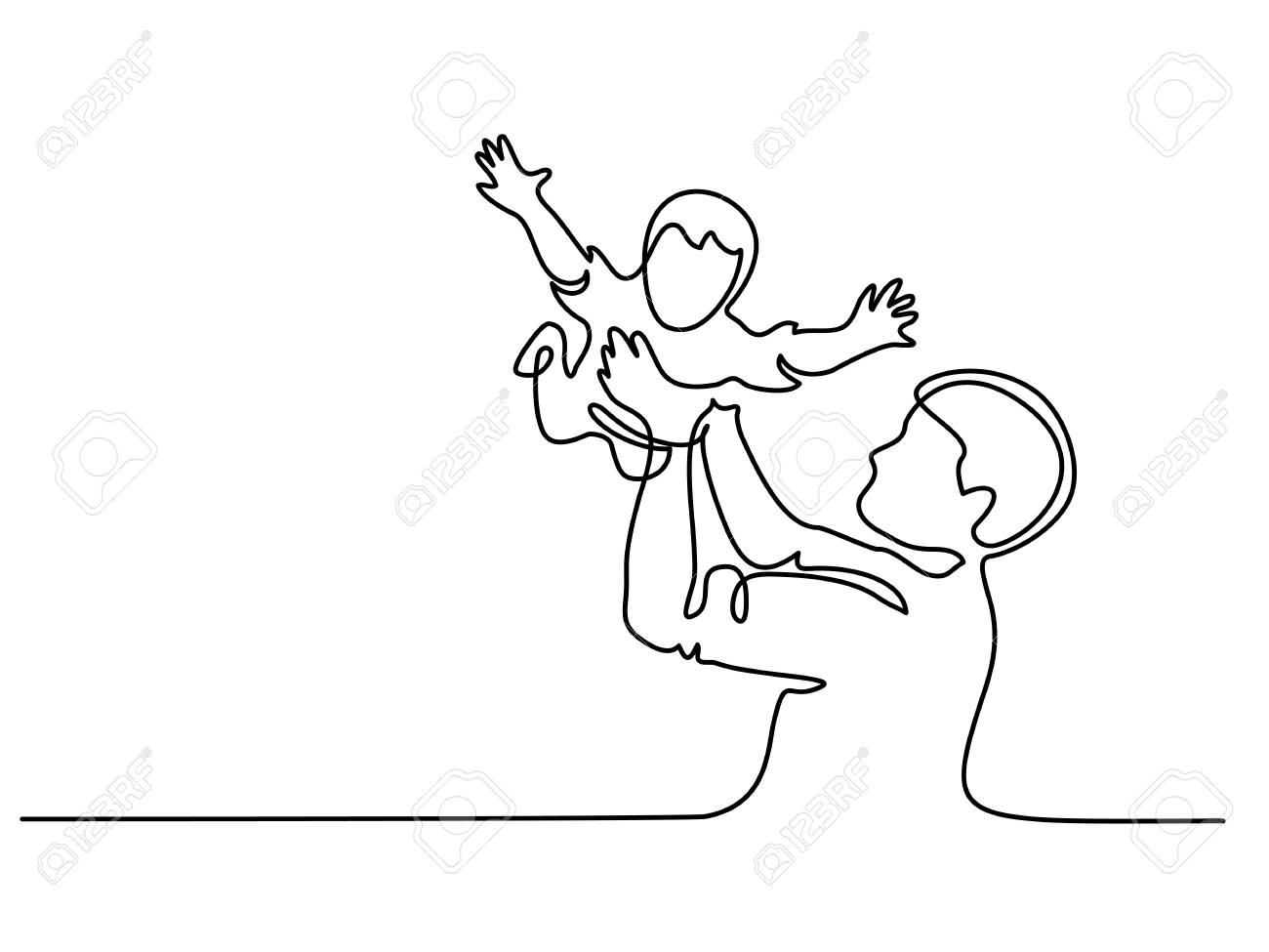 Continuous line drawing. Father holding happy son up in air vector illustration. - 95338048
