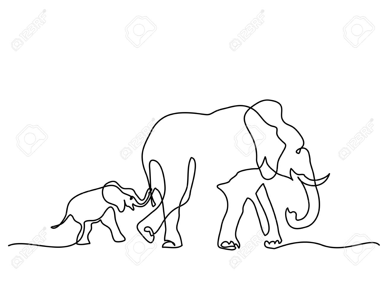 Continuous Line Drawing Elephant Wiring Diagrams Experimenting With Feedback And Crossover Distortion Circuitshome Mom Baby Walking Symbol Rh 123rf Com Animal Picasso