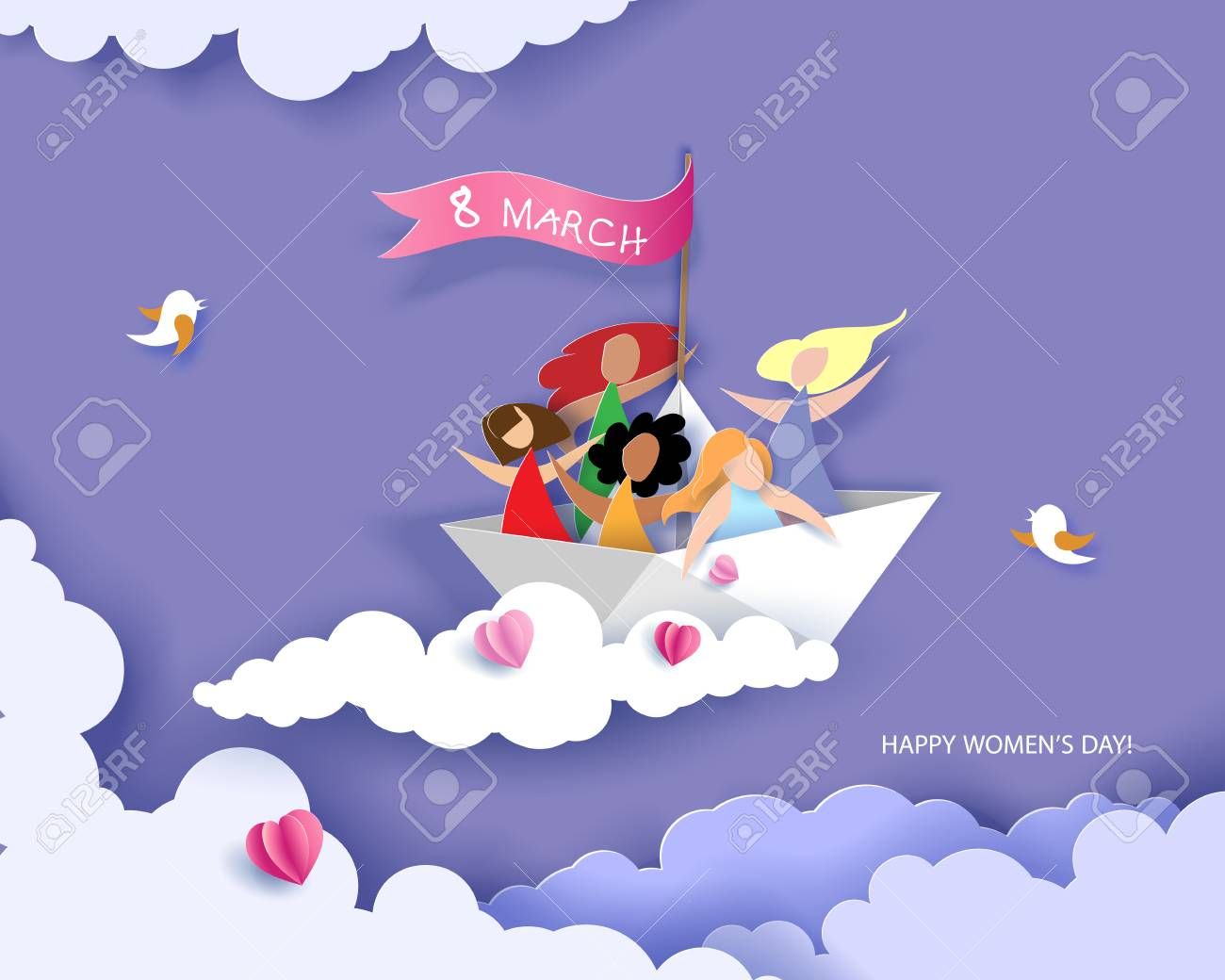 Card for 8 March womens day. Happy women different nationalities flying on paper boat. Vector illustration. Paper cut and craft style. - 96437422