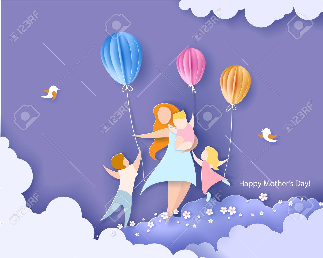 Beautiful women with her children. Happy mothers day card. Paper cut style. Vector illustration - 98943832