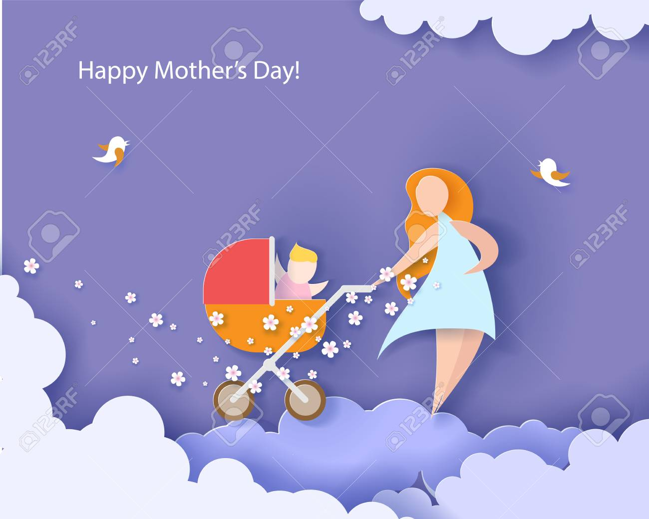 Beautiful woman with her baby. Happy mothers day card. Paper cut style. Vector illustration - 98884219