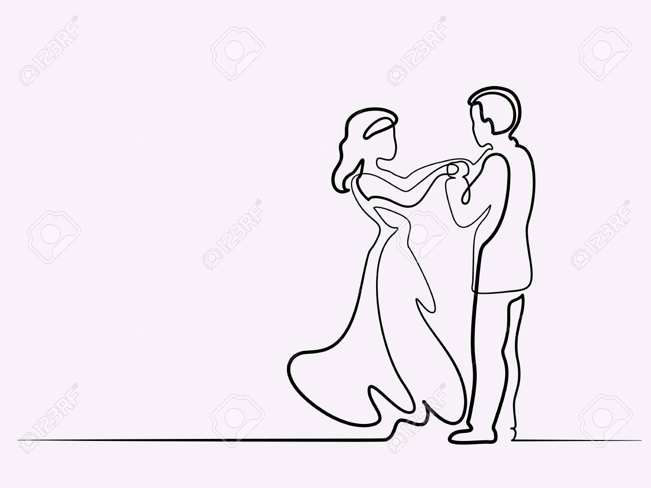 Continuous line drawing loving couple bride and groom on white background vector illustration