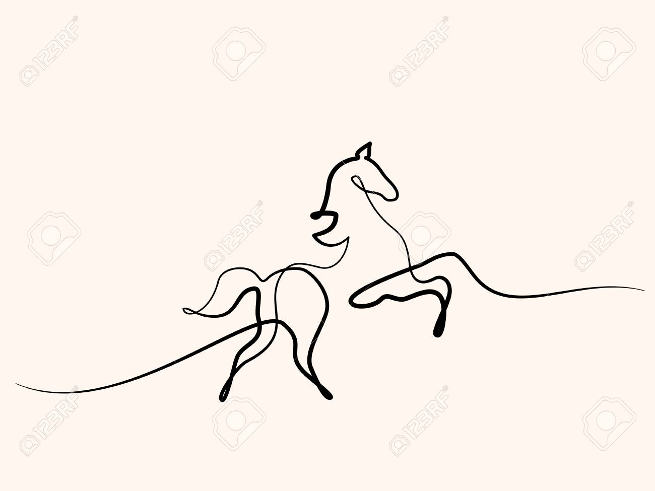 Continuous One Line Drawing Horse Logo Black And White Vector Royalty Free Cliparts Vectors And Stock Illustration Image 100592403