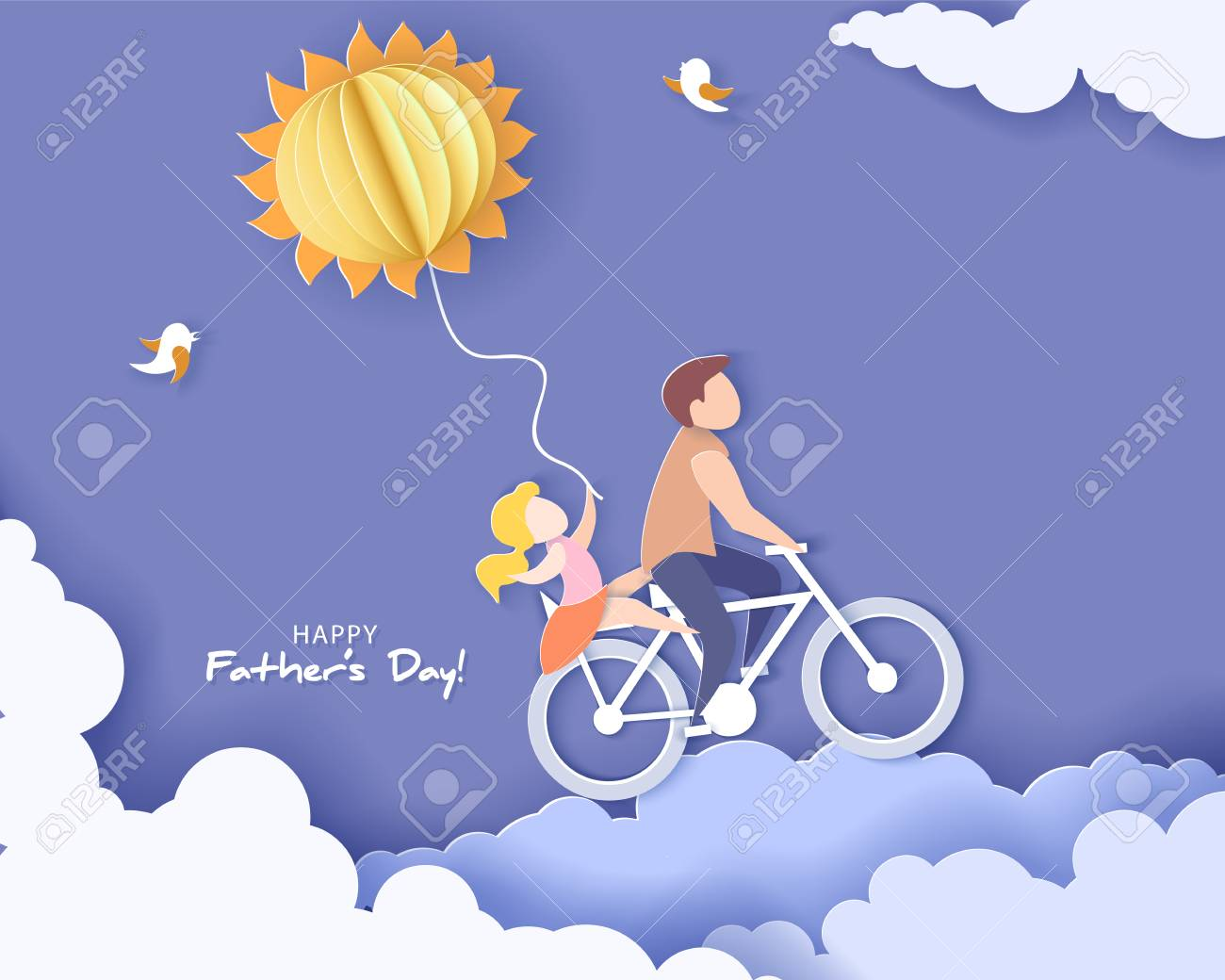 Handsome man and his daughter bicycling with air balloon sun shaped. Happy fathers day card. Paper cut style. Vector illustration - 103683871
