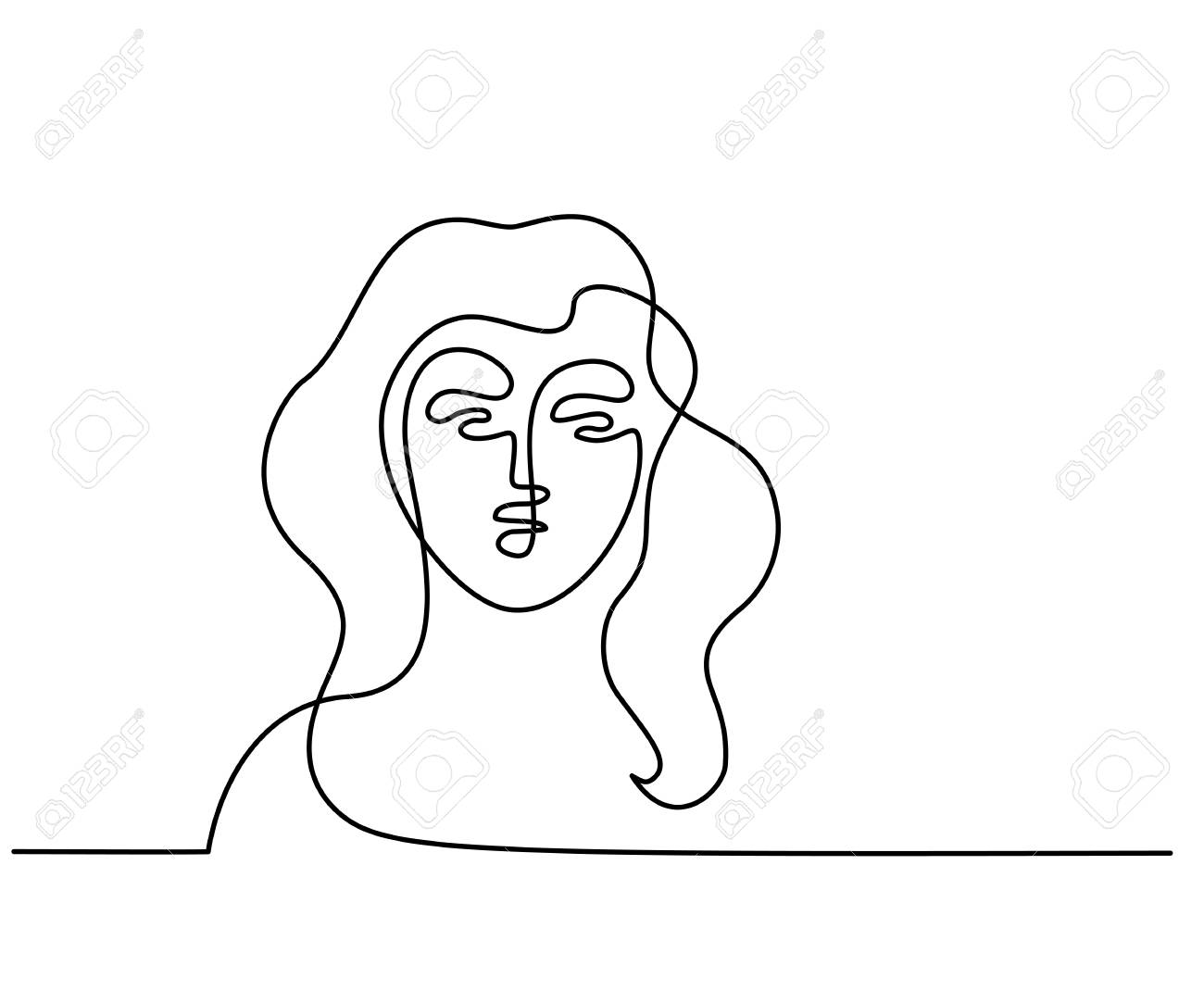 Continuous One Line Drawing Abstract Portrait Of A Woman Vector